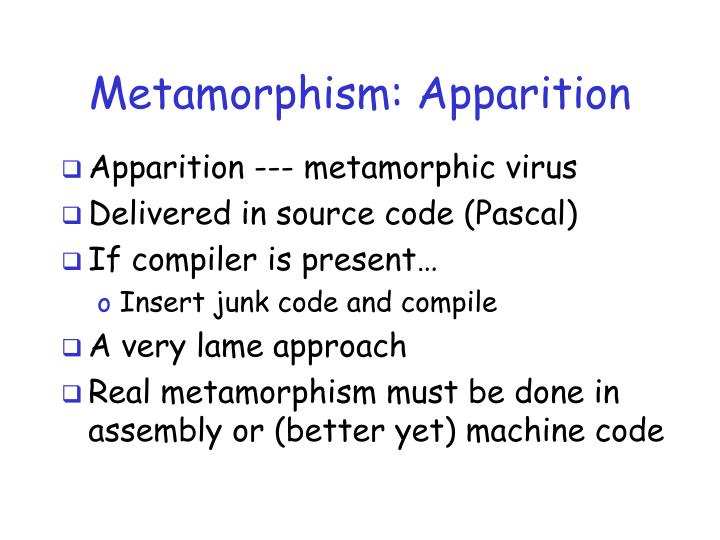 Metamorphism: Apparition