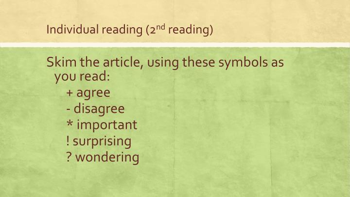 Individual reading (2