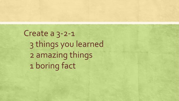 Create a 3-2-1