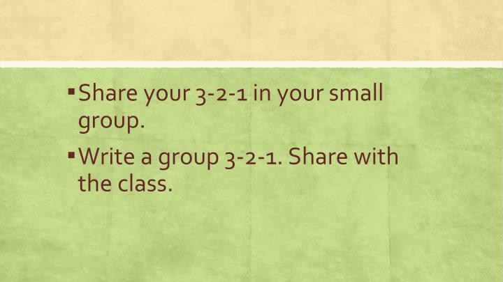 Share your 3-2-1 in your small group.