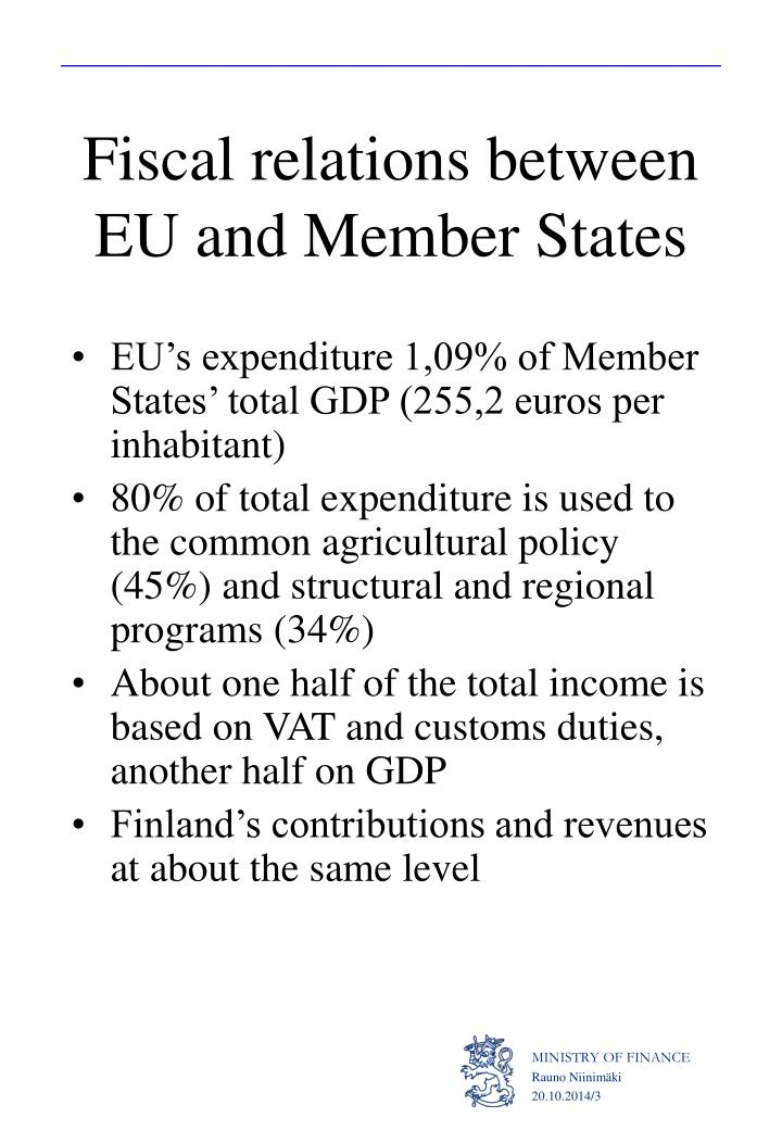 Fiscal relations between EU and Member States