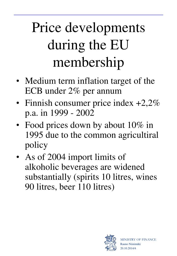 Price developments during the EU membership