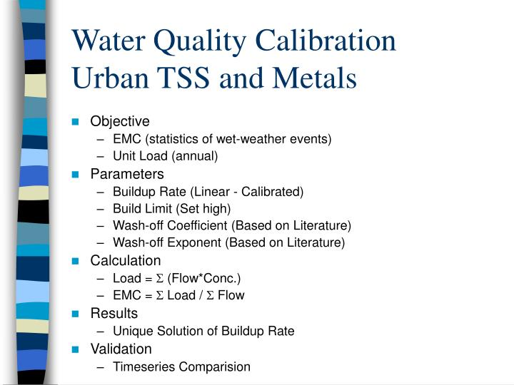 Water quality calibration urban tss and metals