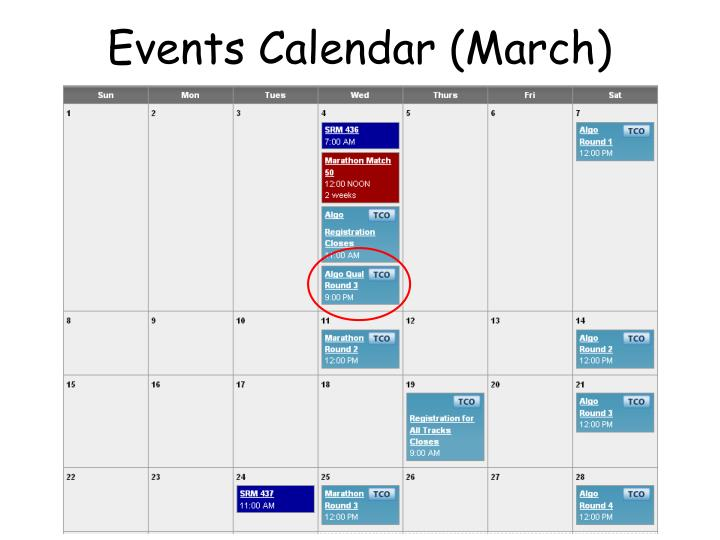 Events Calendar (March)