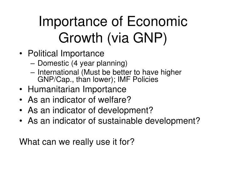 Importance of Economic Growth (via GNP)