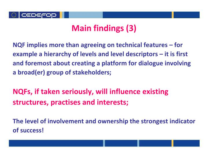 Main findings (3)