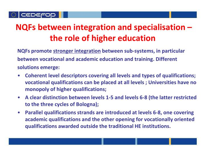 NQFs between integration and specialisation –