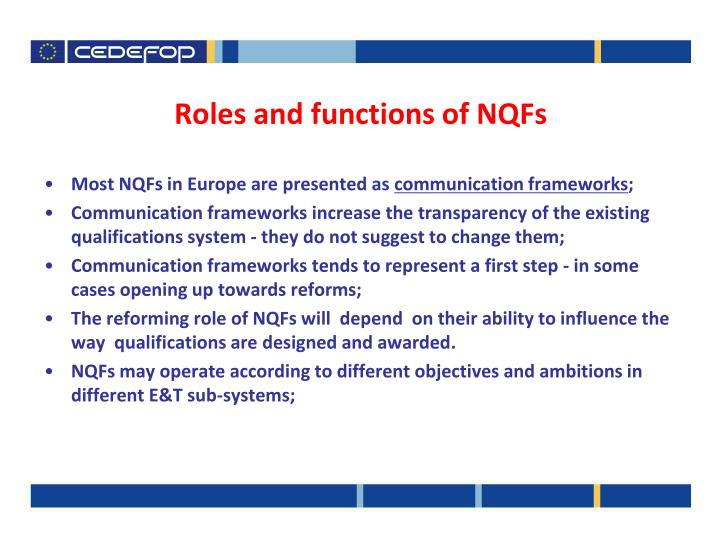 Roles and functions of NQFs