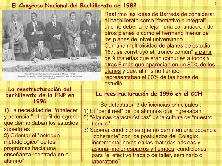 El Congreso Nacional del Bachillerato de 1982