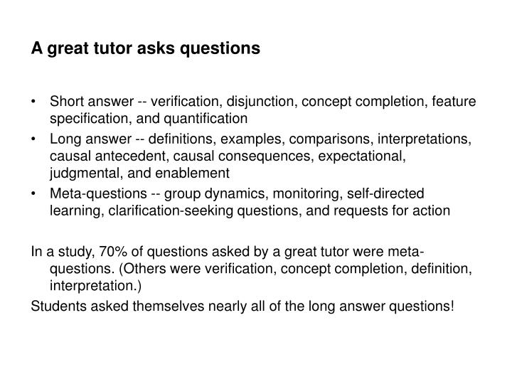 A great tutor asks questions
