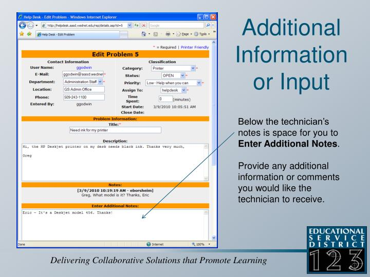 Additional Information or Input