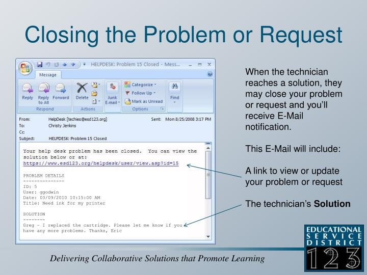 Closing the Problem or Request