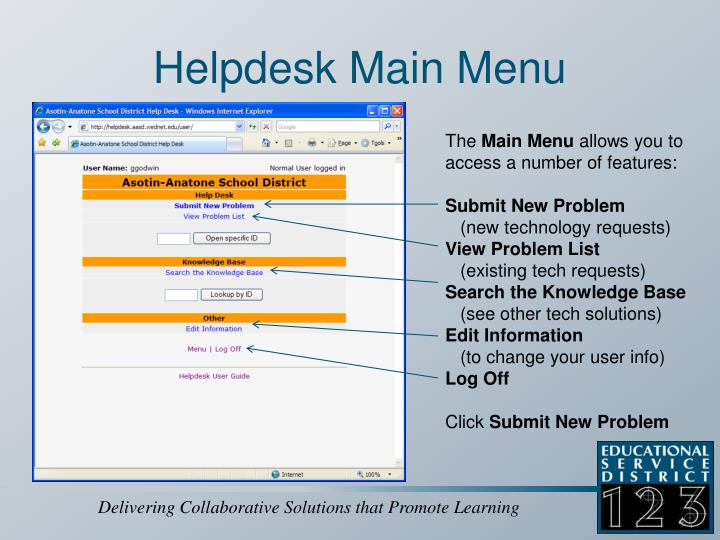 Helpdesk Main Menu