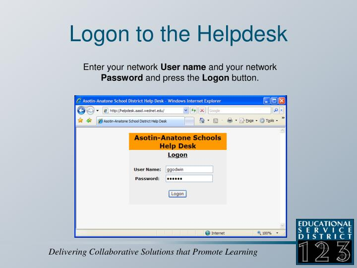Logon to the Helpdesk