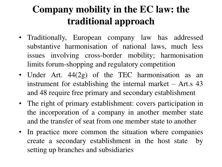 Company mobility in the ec law the traditional approach