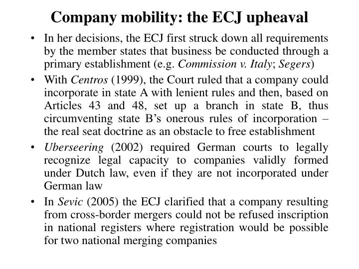 Company mobility: the ECJ upheaval