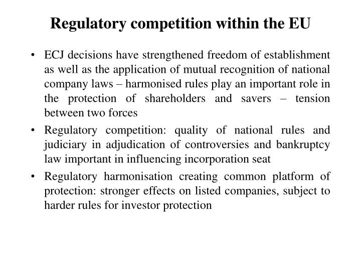 Regulatory competition within the EU