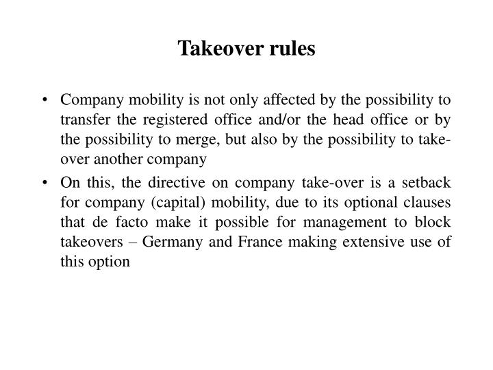 Takeover rules