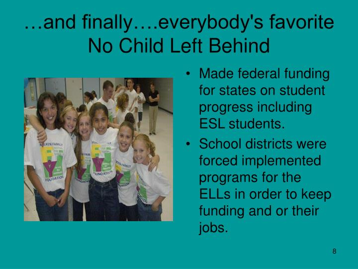 no child left behind and its No child left behind act of 2001 - amends the elementary and secondary  education act of 1965 (esea) to revise, reauthorize, and consolidate various.