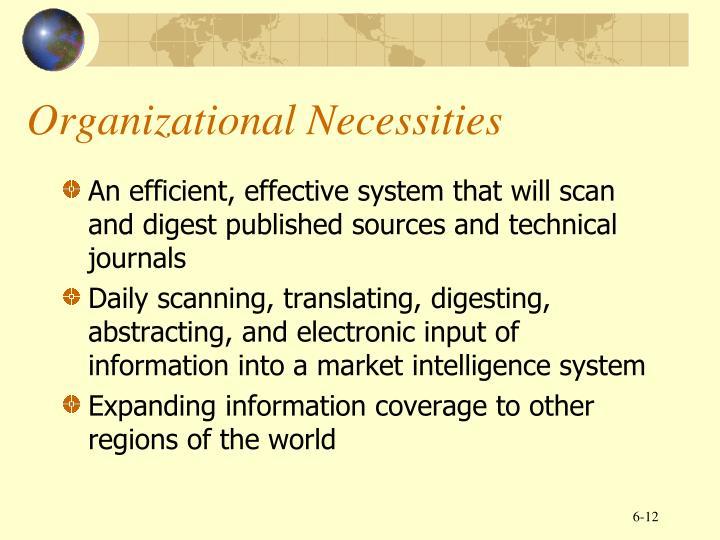Organizational Necessities