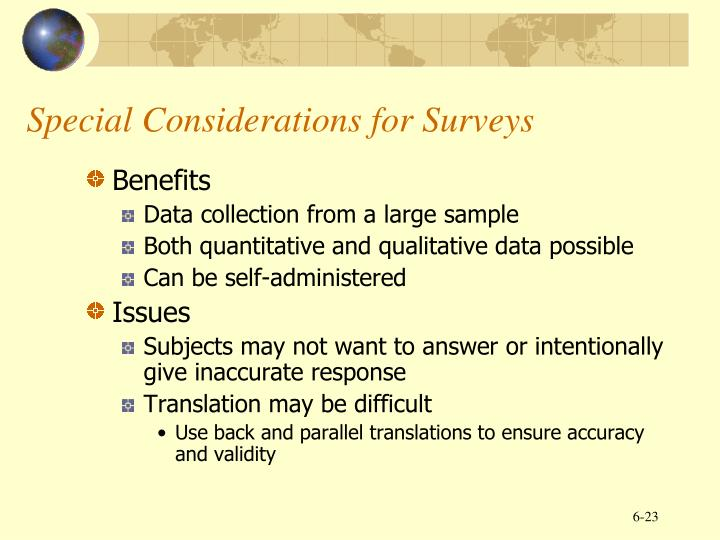 Special Considerations for Surveys