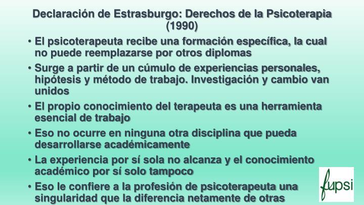 Declaración de Estrasburgo: Derechos de la Psicoterapia (1990)