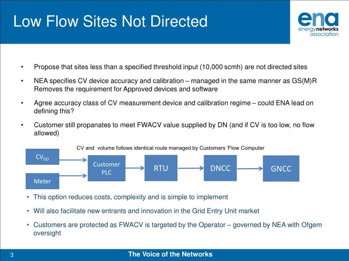 Low flow sites not directed