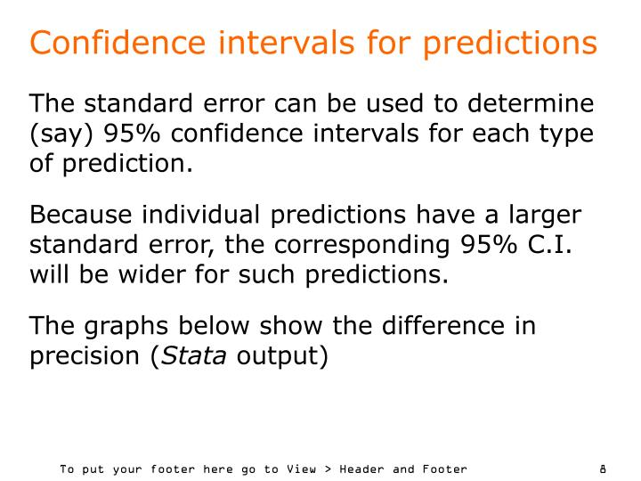 Confidence intervals for predictions