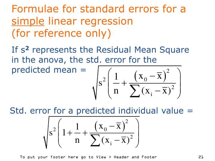 Formulae for standard errors for a