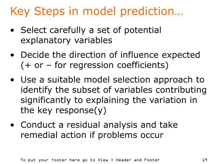 Key Steps in model prediction…