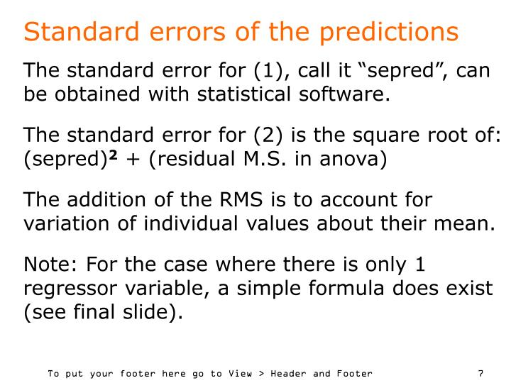 Standard errors of the predictions