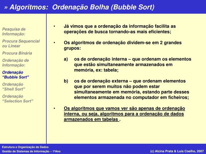 Ordenação Bolha (Bubble Sort)
