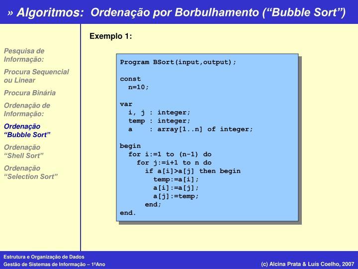 """Ordenação por Borbulhamento (""""Bubble Sort"""")"""