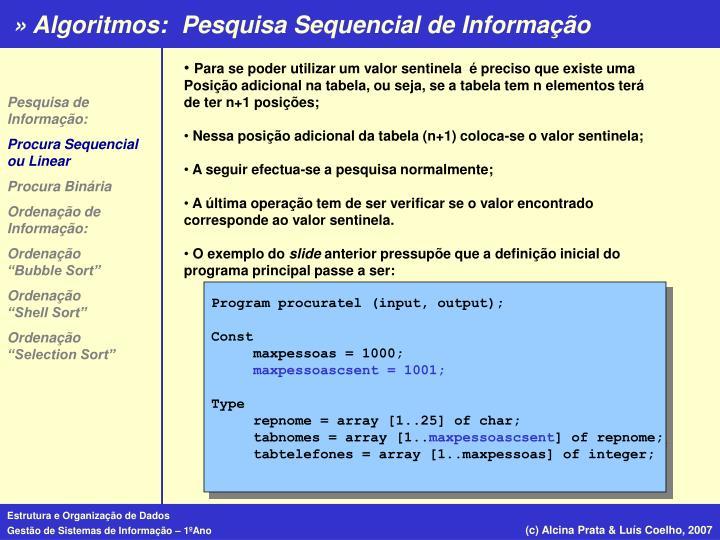 Pesquisa Sequencial de Informação