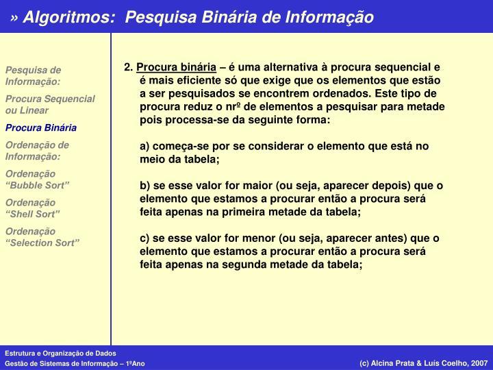 Pesquisa Binária de Informação
