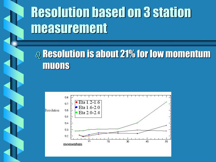 Resolution based on 3 station measurement