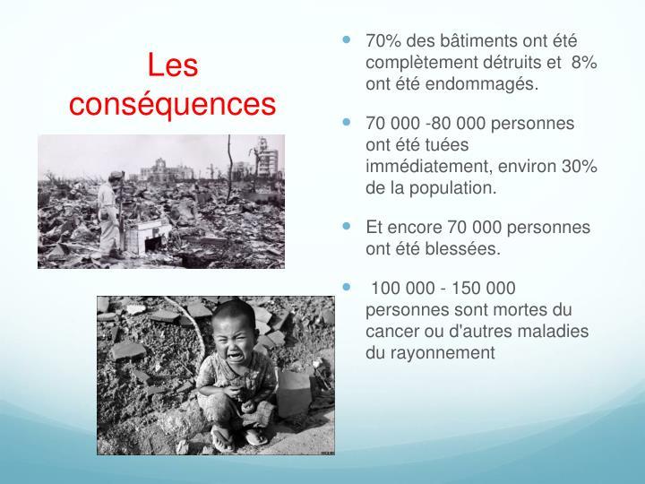 70% des bâtiments ont été complètement détruits et  8% ont été endommagés.