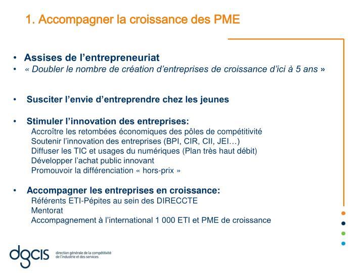 1. Accompagner la croissance des PME