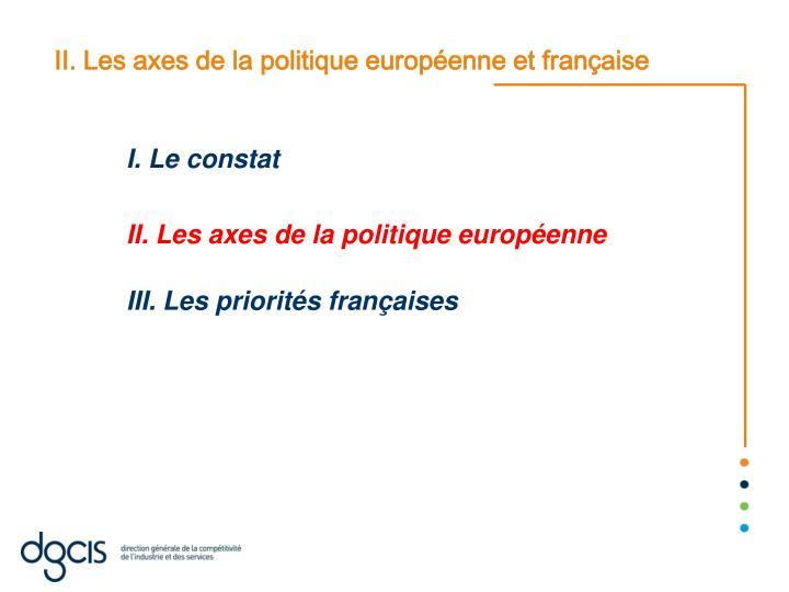 II. Les axes de la politique européenne et française