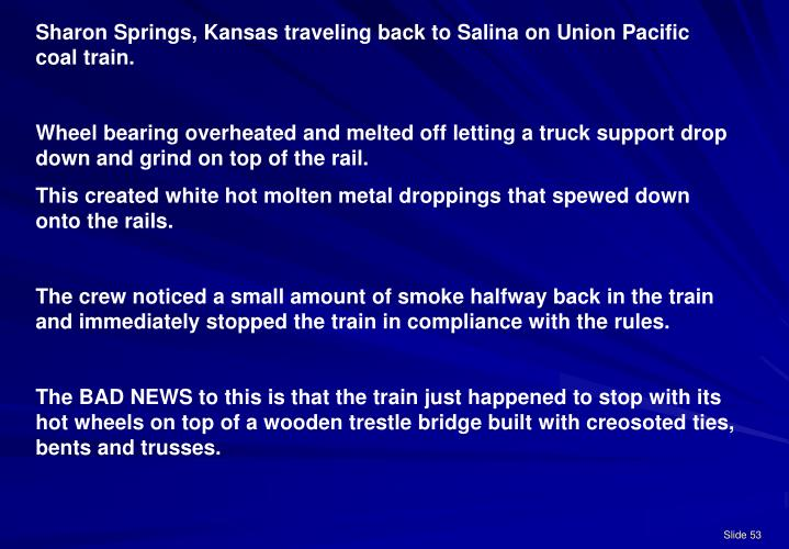 Sharon Springs, Kansas traveling back to Salina on Union Pacific coal train.