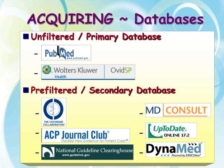ACQUIRING ~ Databases