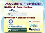 acquiring databases