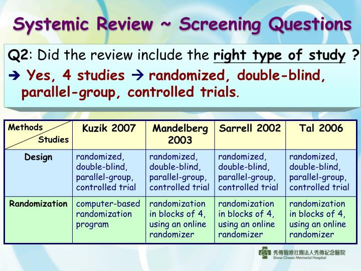 Systemic Review ~ Screening Questions