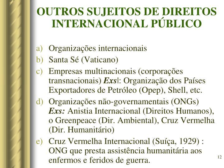 OUTROS SUJEITOS DE DIREITOS INTERNACIONAL PÚBLICO