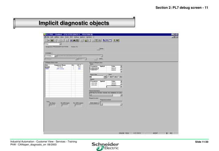 Section 2: PL7 debug screen - 11