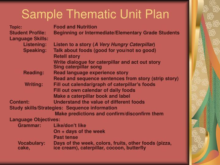 Sample Thematic Unit Plan