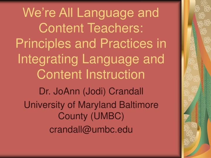 We're All Language and Content Teachers: