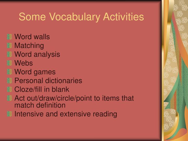 Some Vocabulary Activities