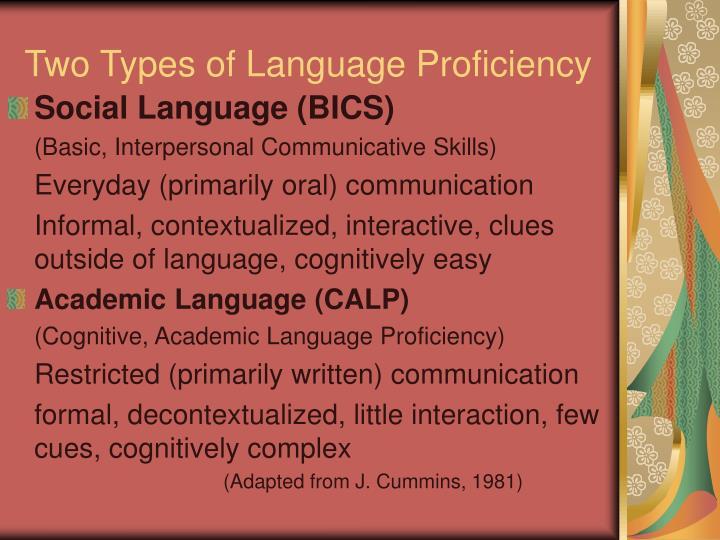 Two Types of Language Proficiency