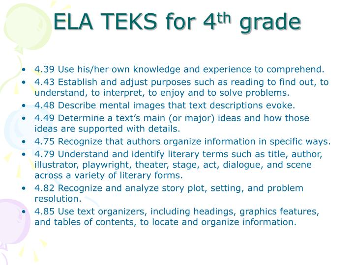 ELA TEKS for 4